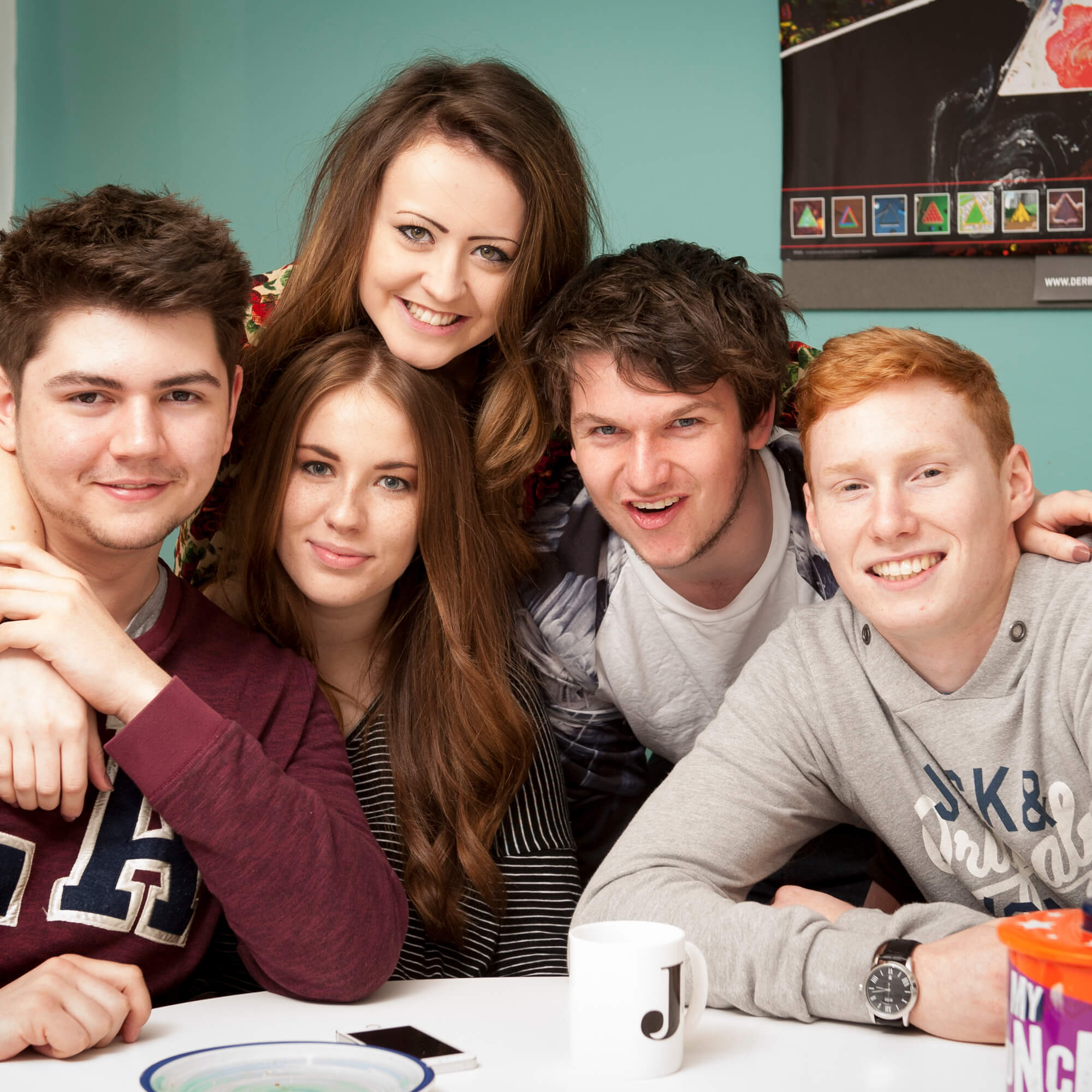 Group of students in halls kitchen