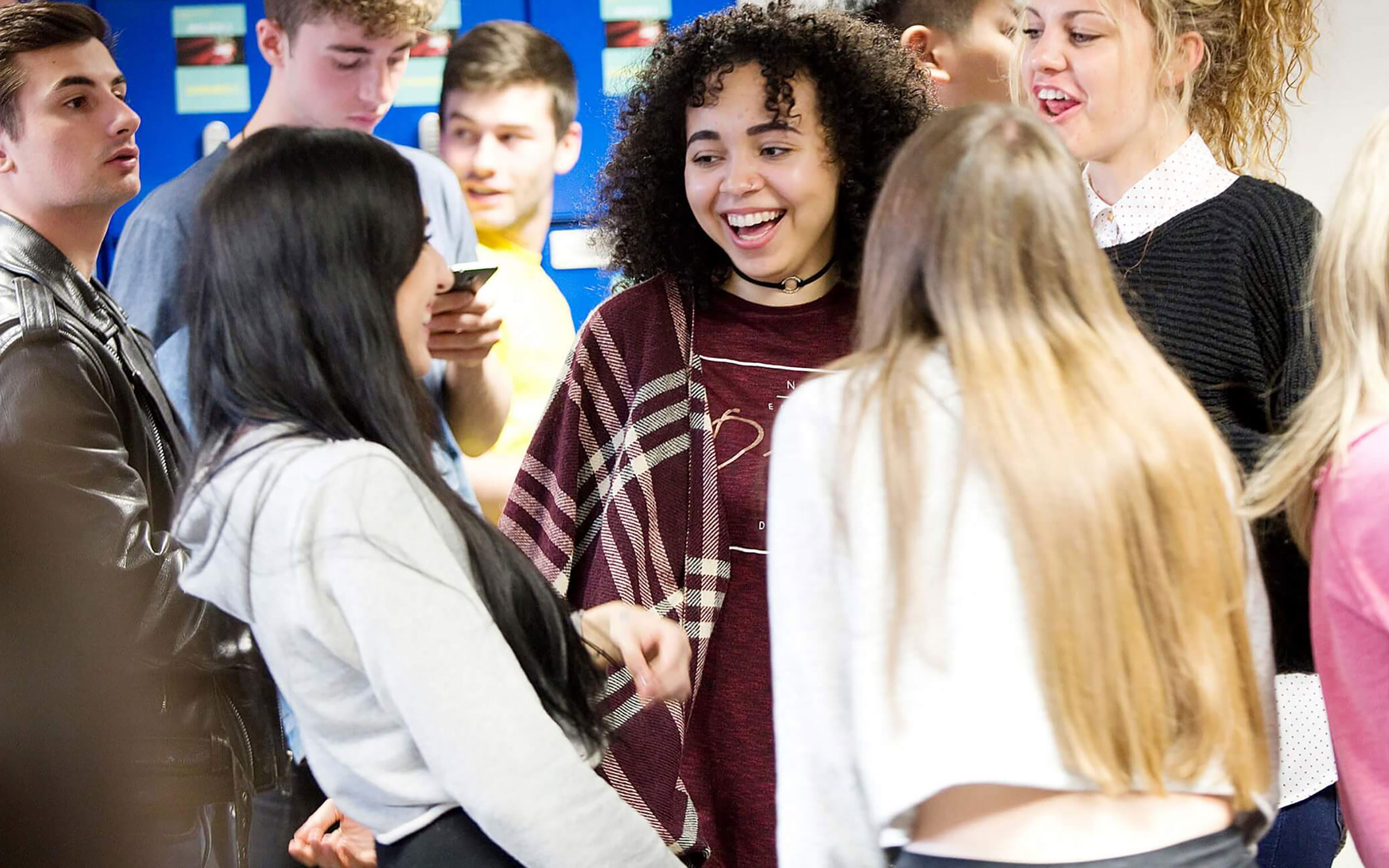Students socialising in a group