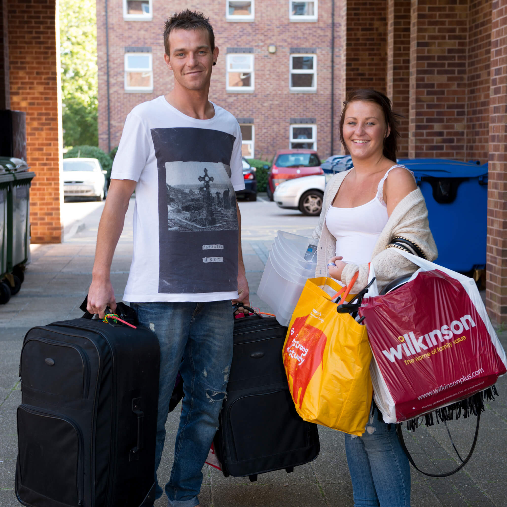 a couple moving into halls