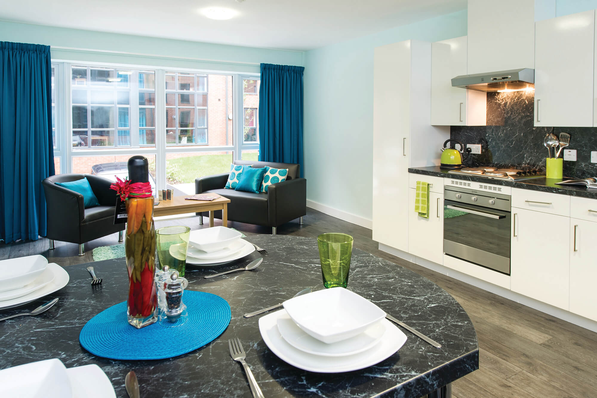 A kitchen and social space at Darley Bank