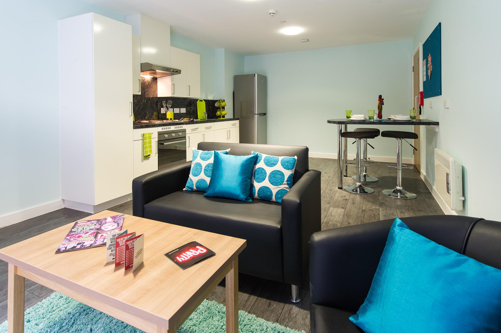A social space and kitchen at Darley Bank