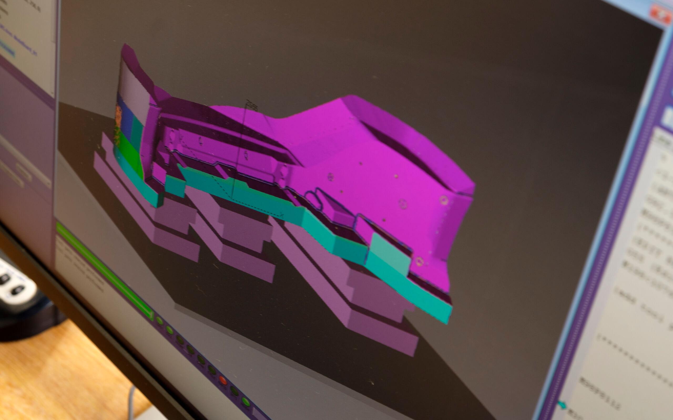 Digital 3D model design on a computer screen