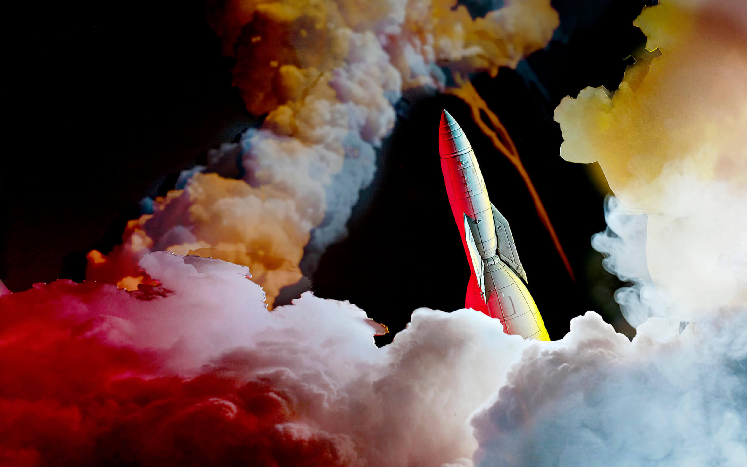 Rocket with coloured clouds