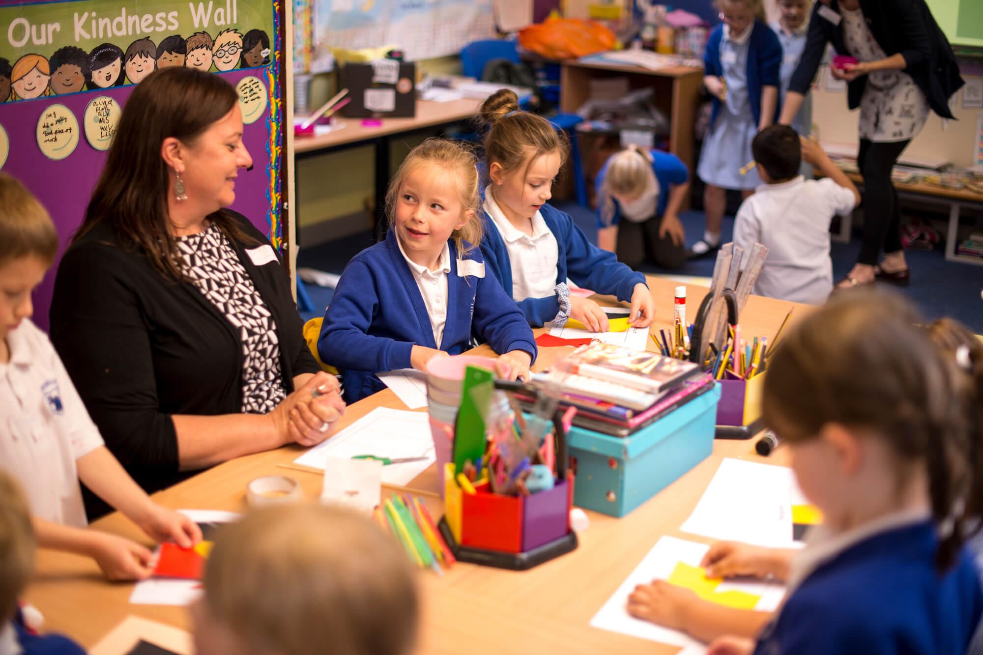 Primary school children engaging in an activity