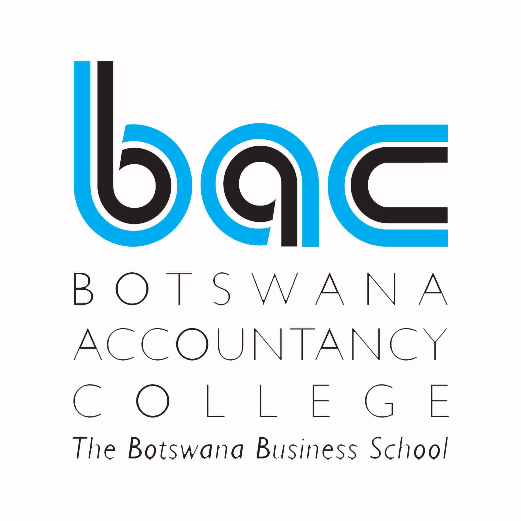 BAC college logo blue and black text