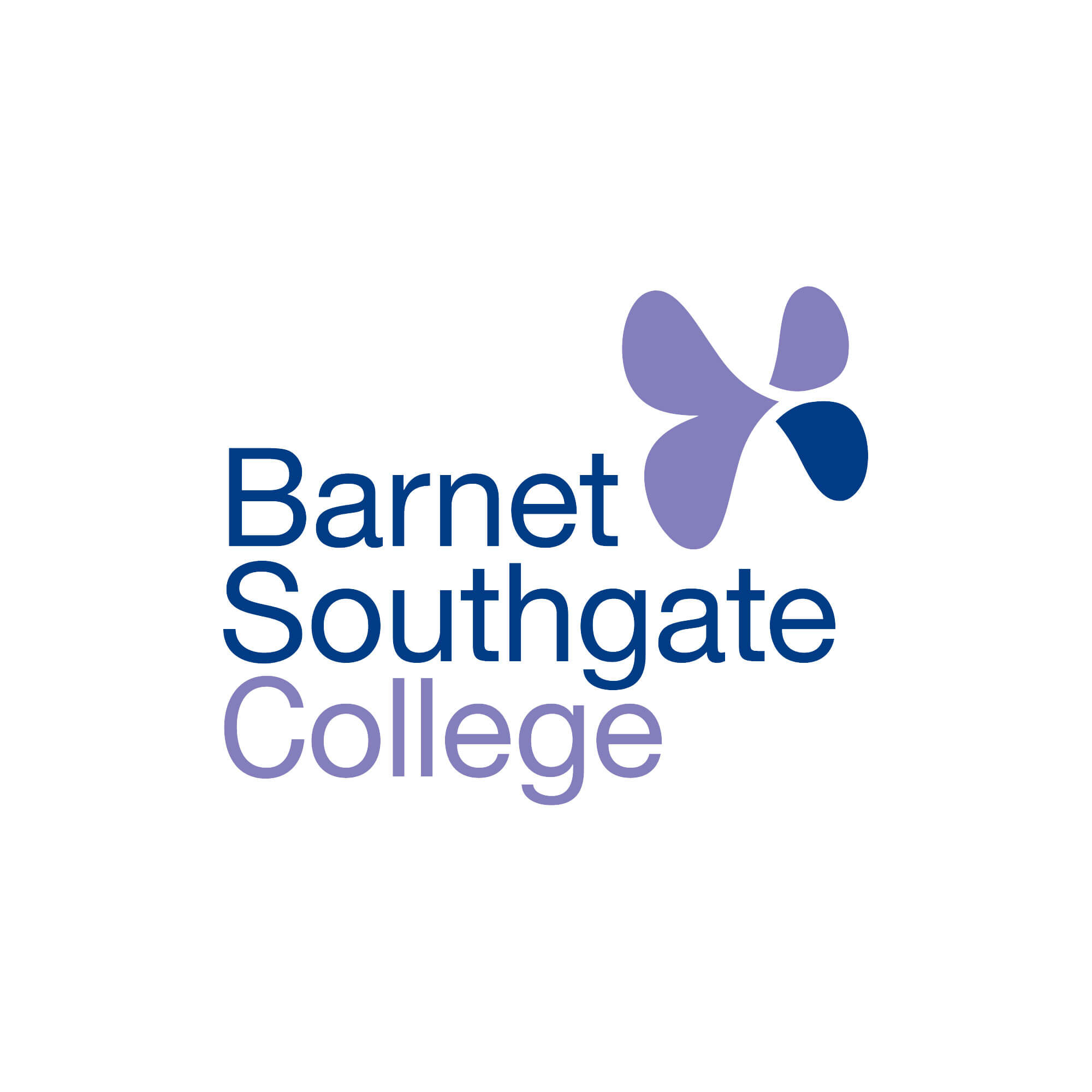 college logo, blue and purple text with a butterfly