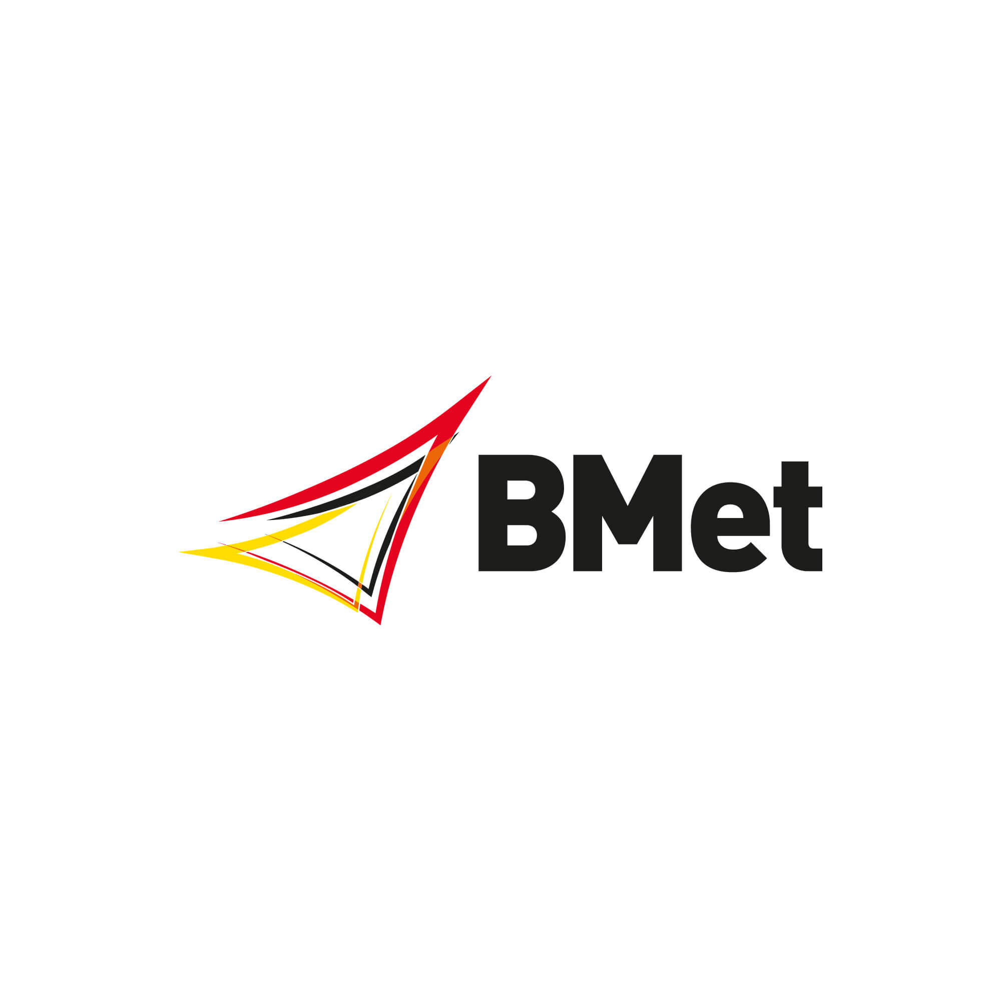 black and red logo spelling the letters BMet