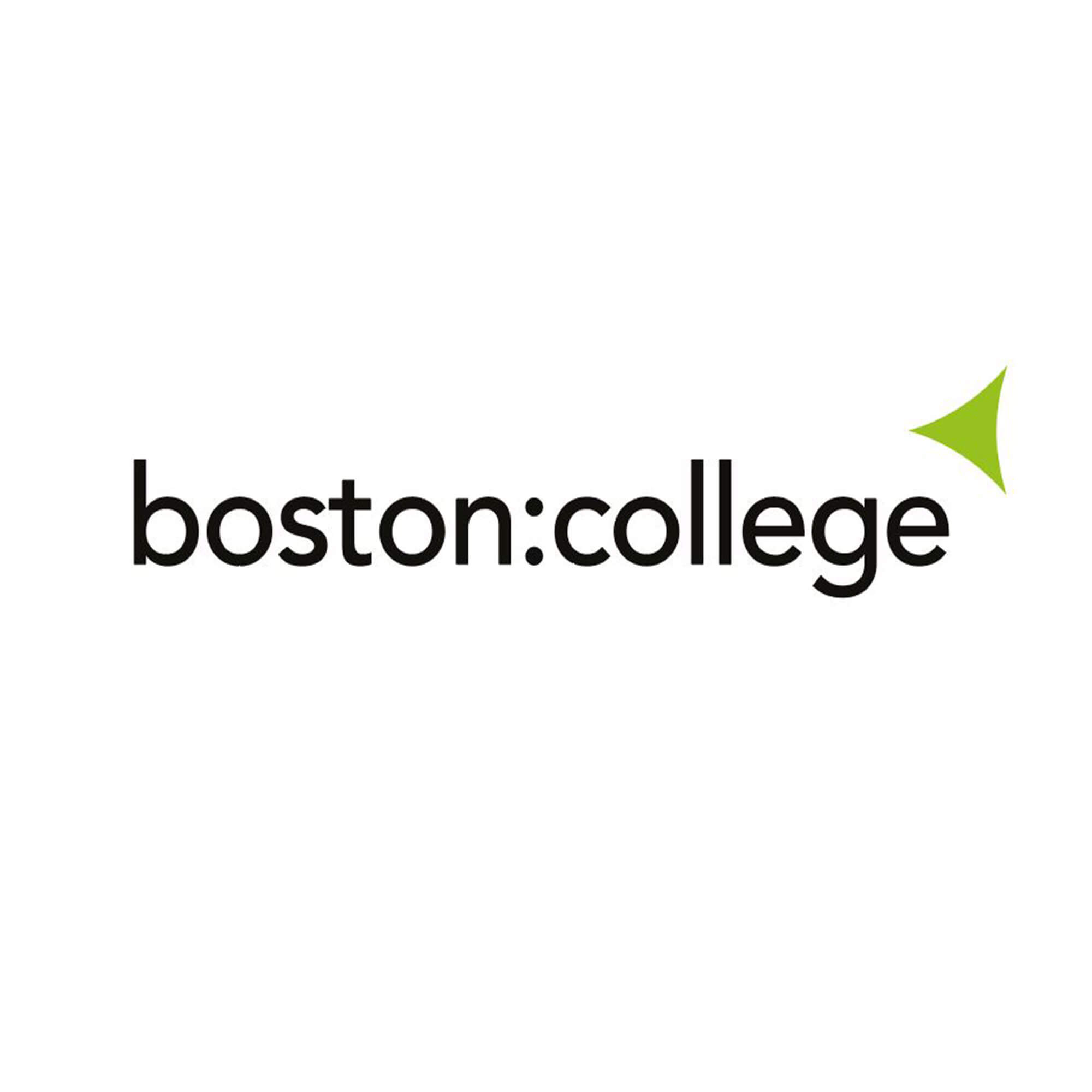 college logo in black with a green triangle above the e