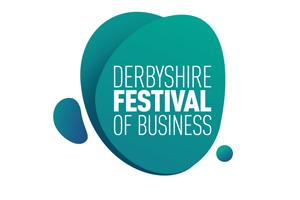 A blue Derbyshire Festival of Business Logo