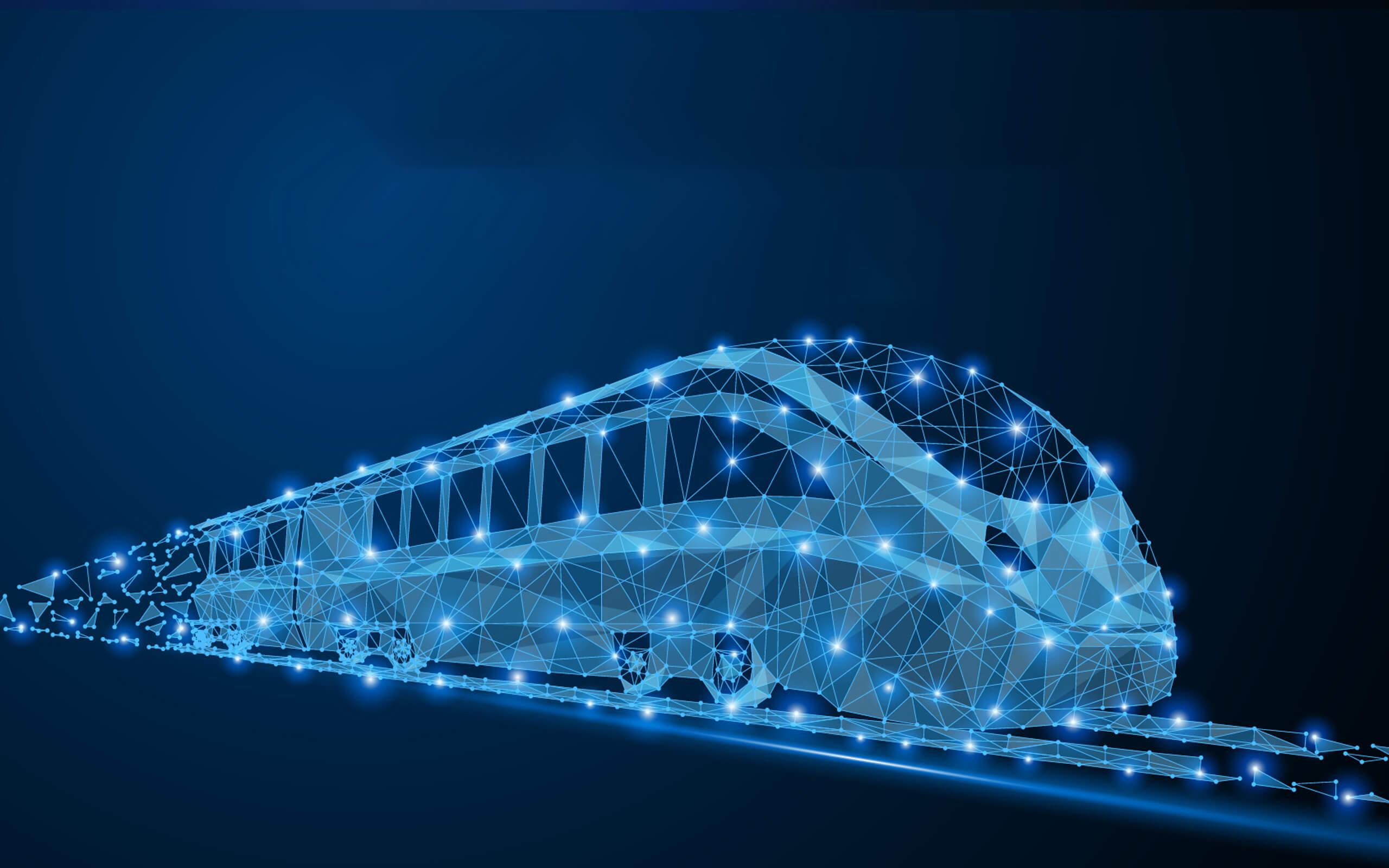 a sketch of a train, in blue