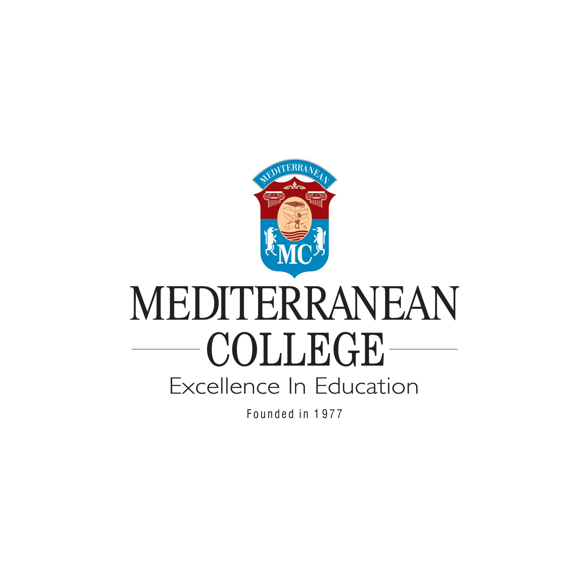College logo black font, blue colours