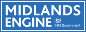A logo for Midlands Engine and HM Government