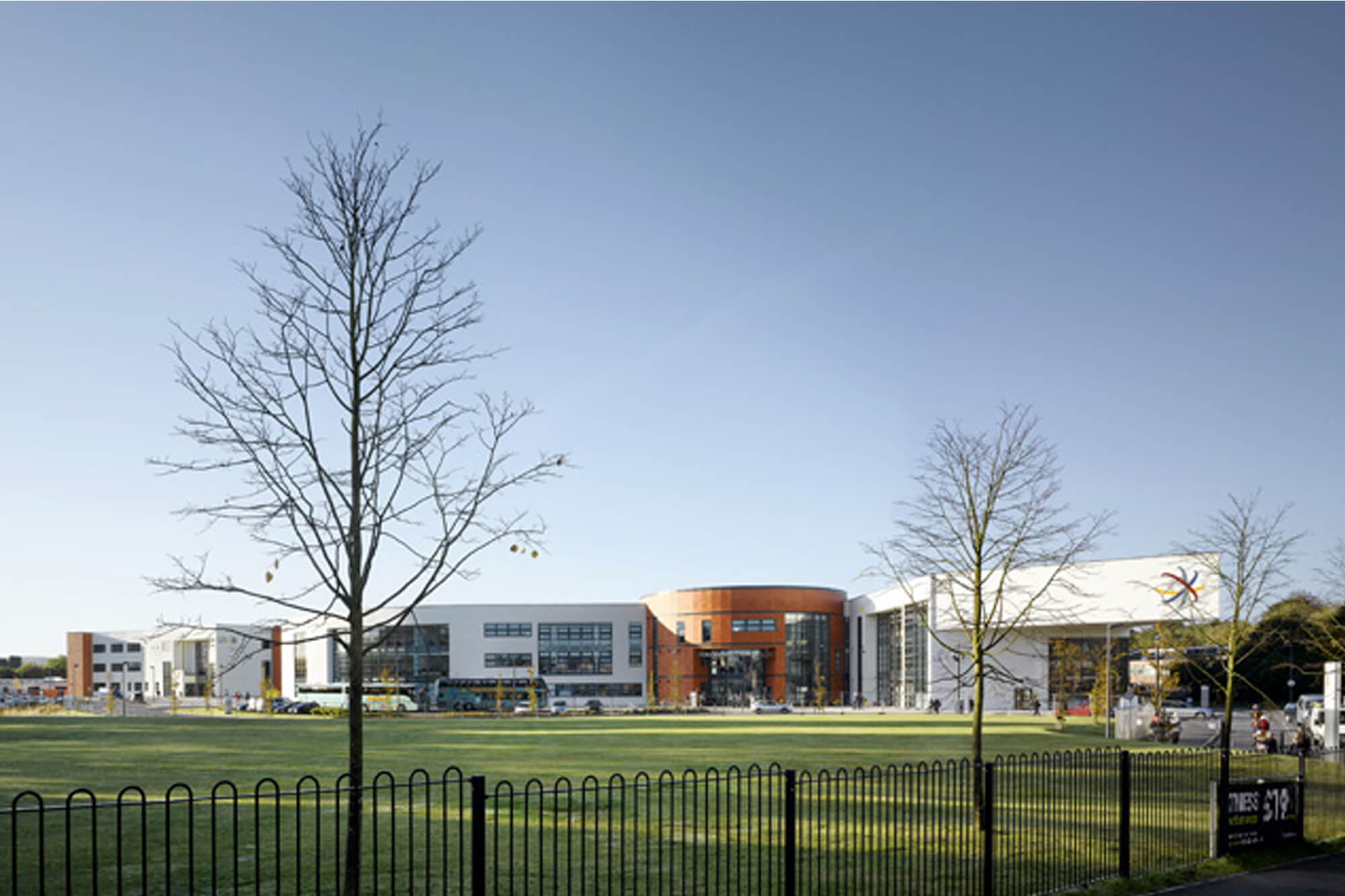 Outside view of Macclesfield College in the sunshine