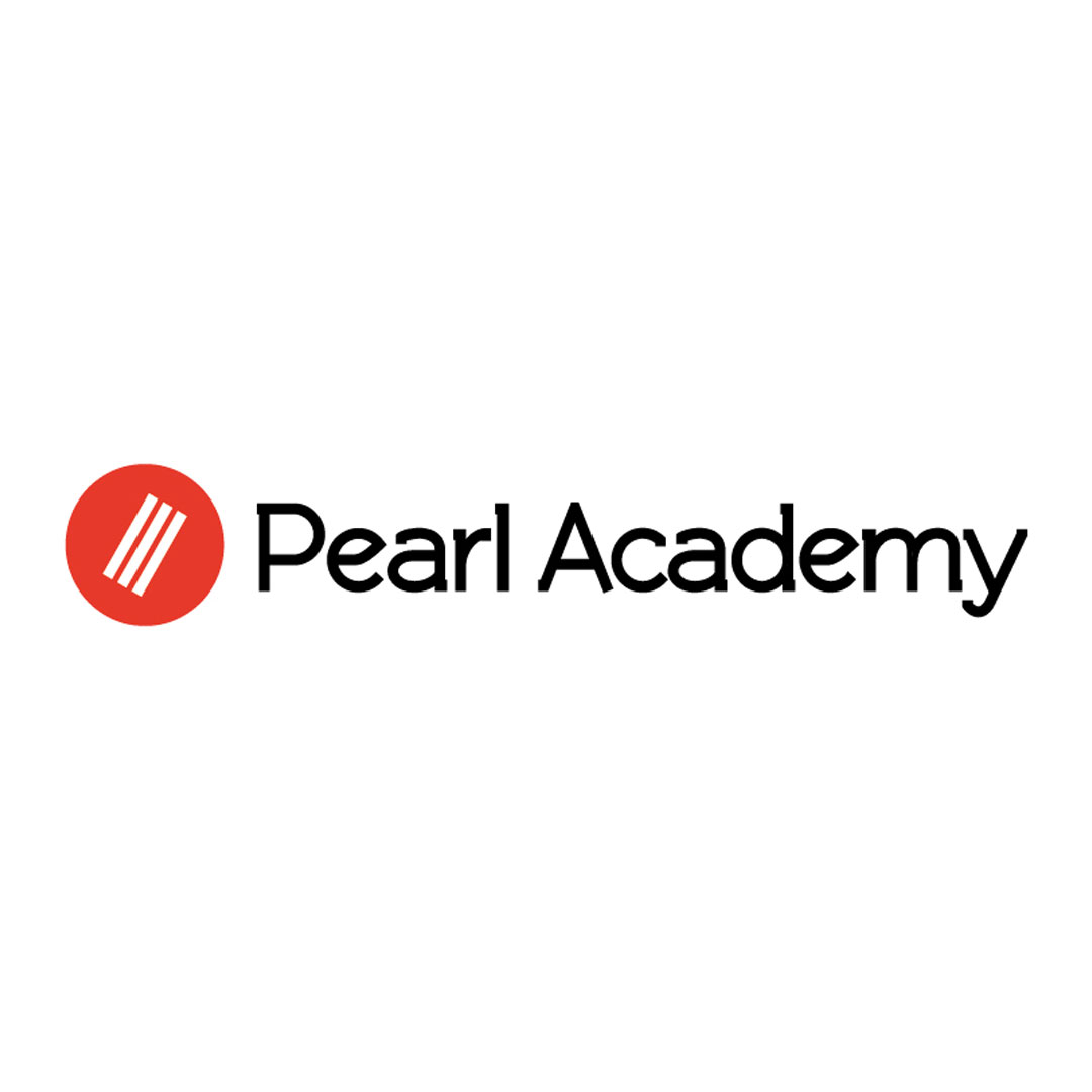 Pearl Academy logo, black text, red logo