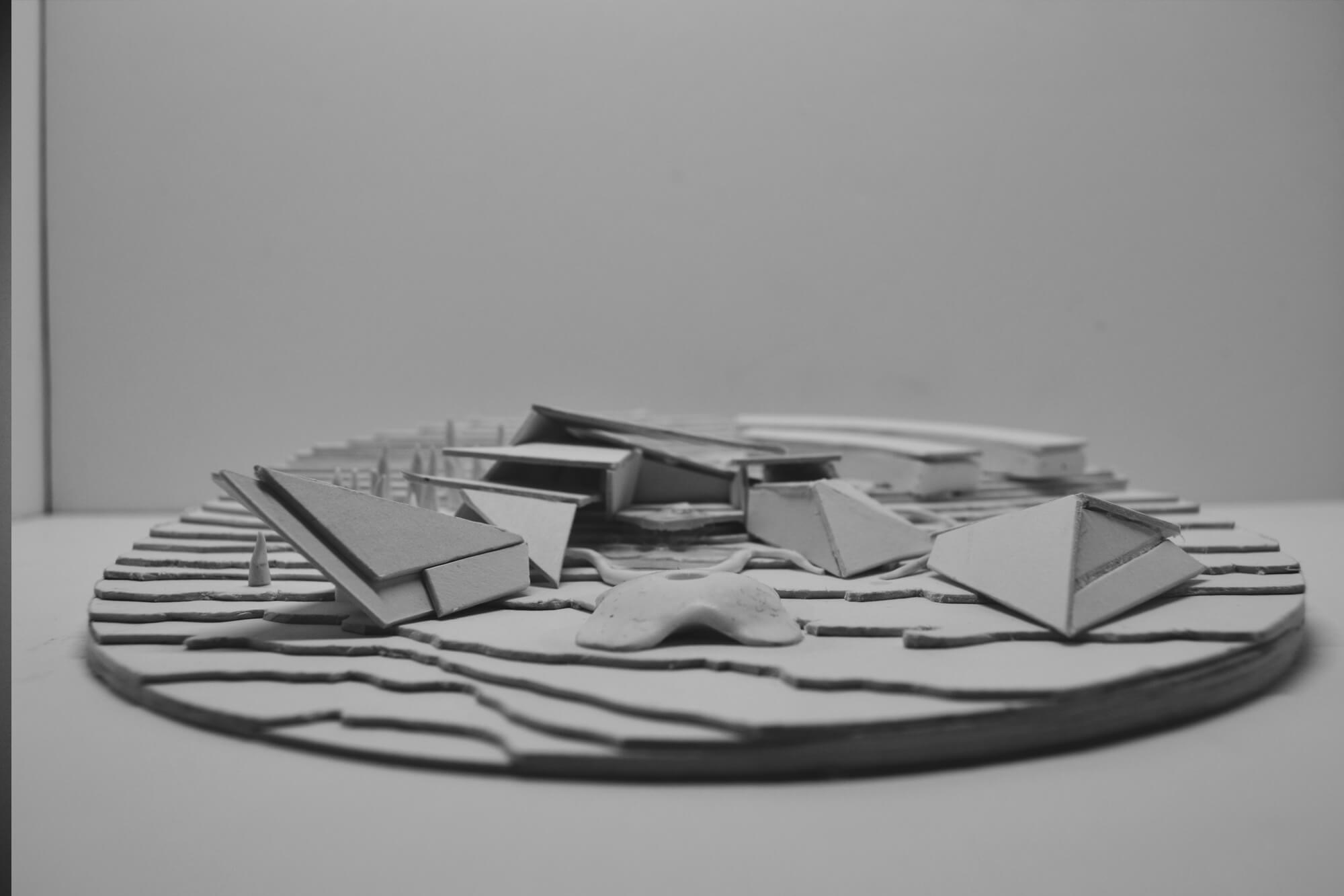 A 3d model of the Peak Gateway in black and white