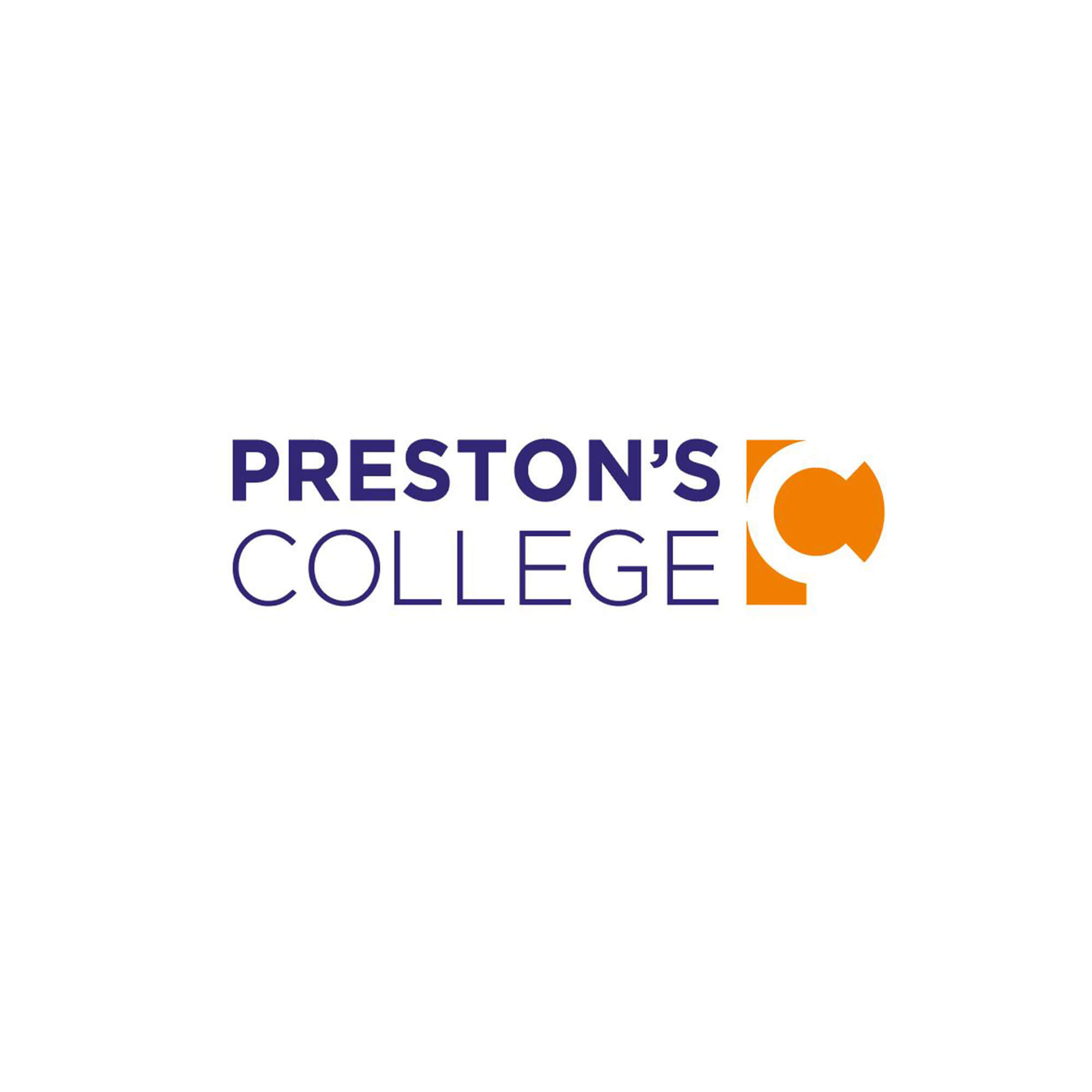Prestons College logo - purple font and orange circle