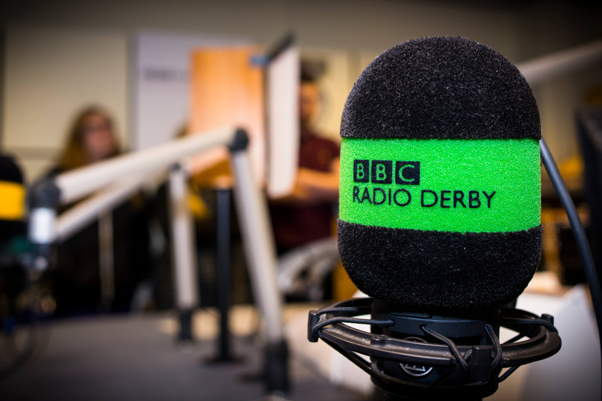 BBC Radio Derby microphone in foreground