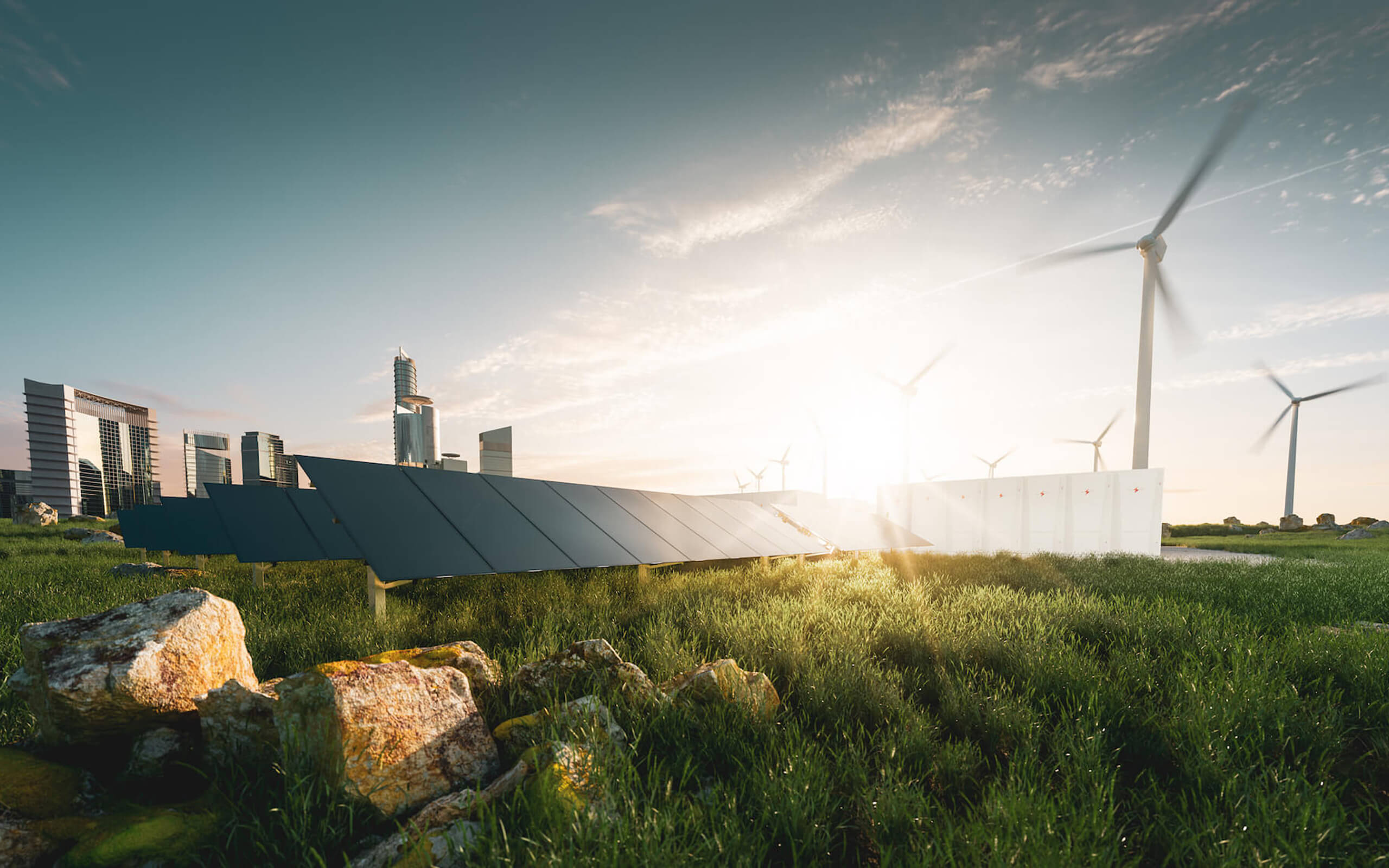 Solar panels and wind turbines with city backdrop
