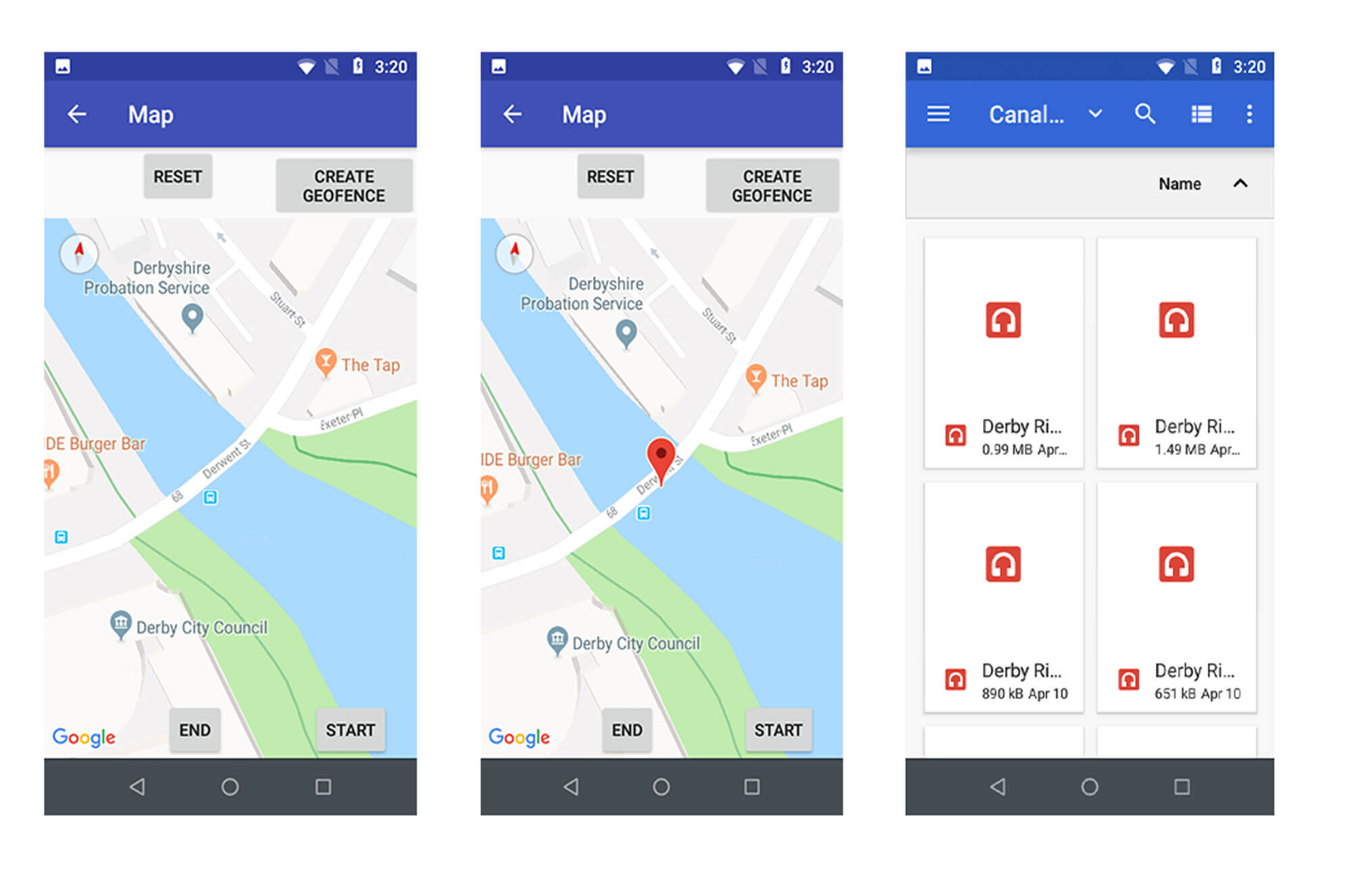 A selection of screen grab images from a mobile phone app