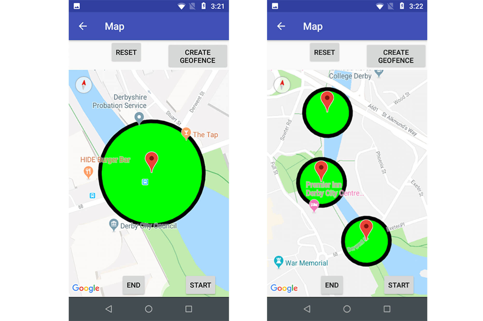 A selection of screen grabs from a mobile phone app