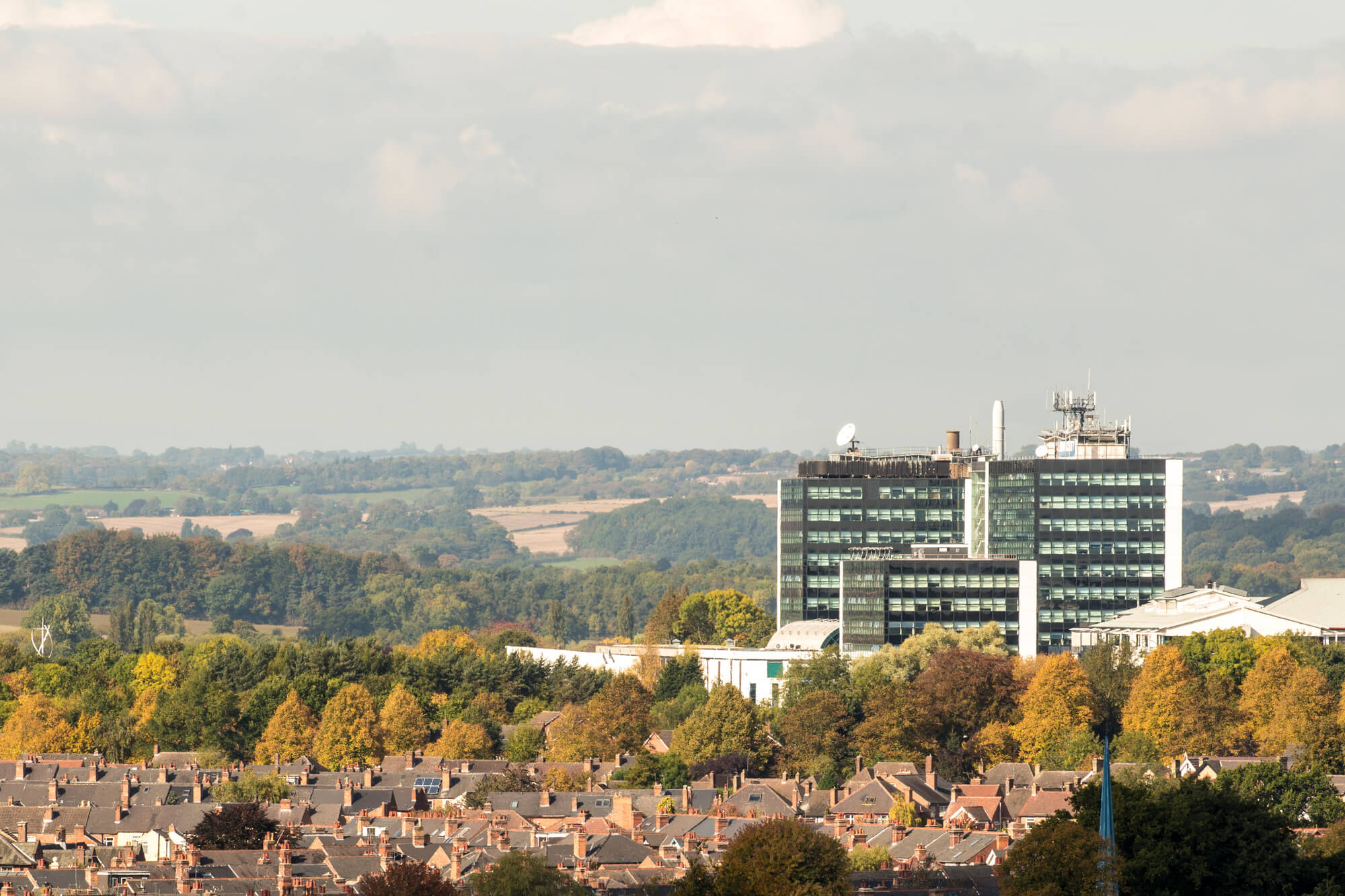 Looking across Derby at the University's Kedleston Road site