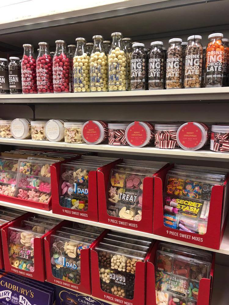 A picture of confectionery on a shelf