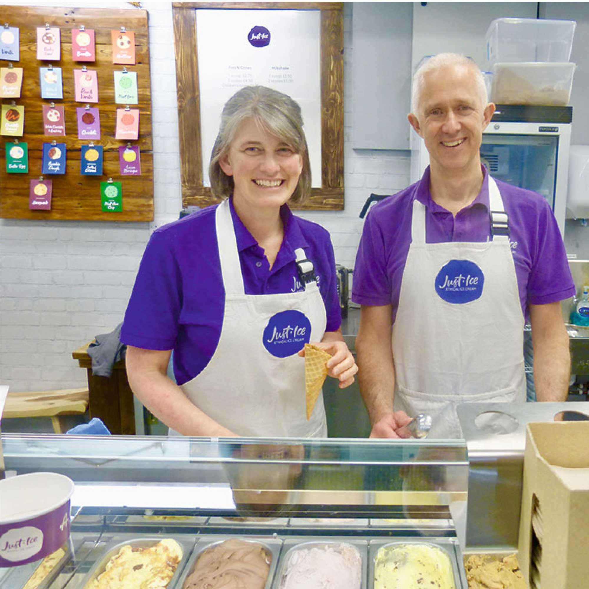 Director's of Derbyshire ethical ice cream company, Just-Ice.