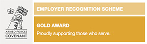 Army logo. Soldier holding a Union Jack flag with a crown next to it. Text reads 'Employer Recognition Scheme: Gold Award. Proudly supporting those who serve.'