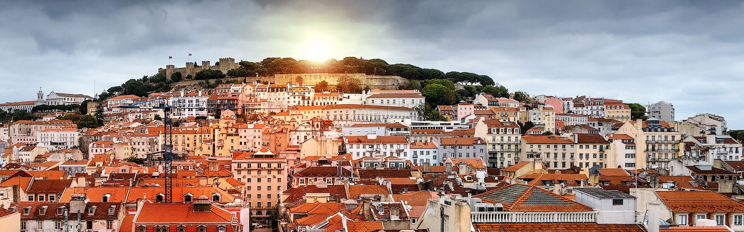 Panoramic view overlooking terracotta houses in Lisbon