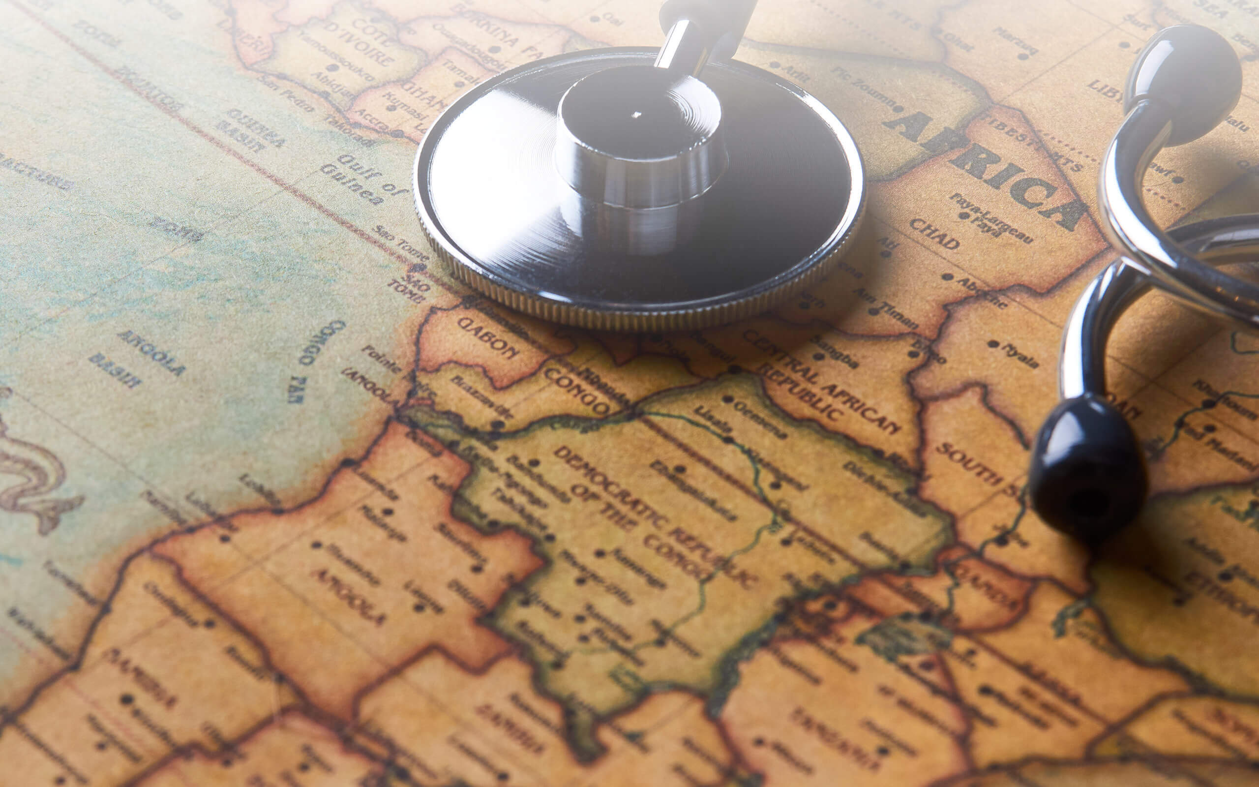 Map of Africa covered by stethoscope