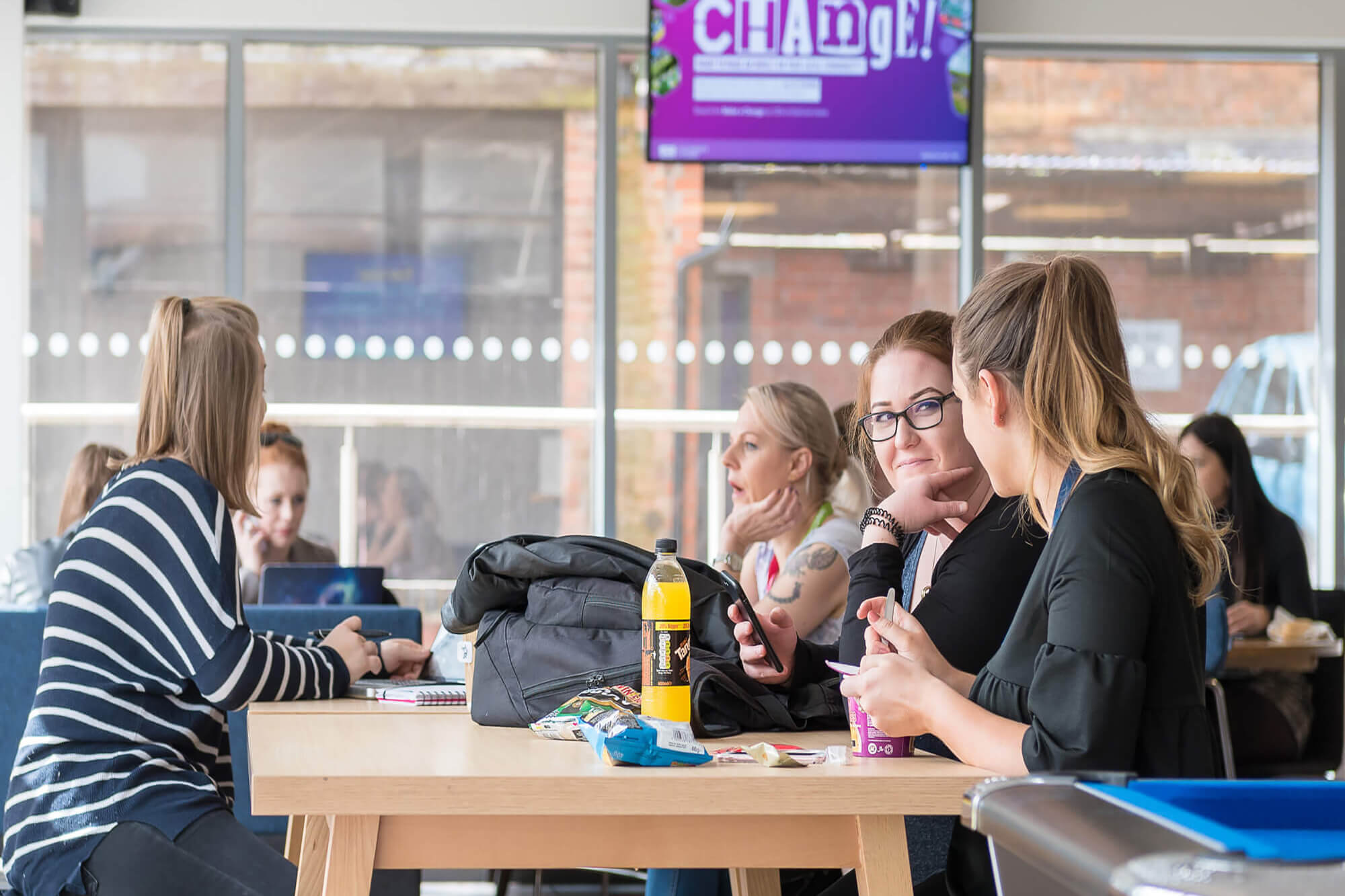 students meeting in the Blends cafe