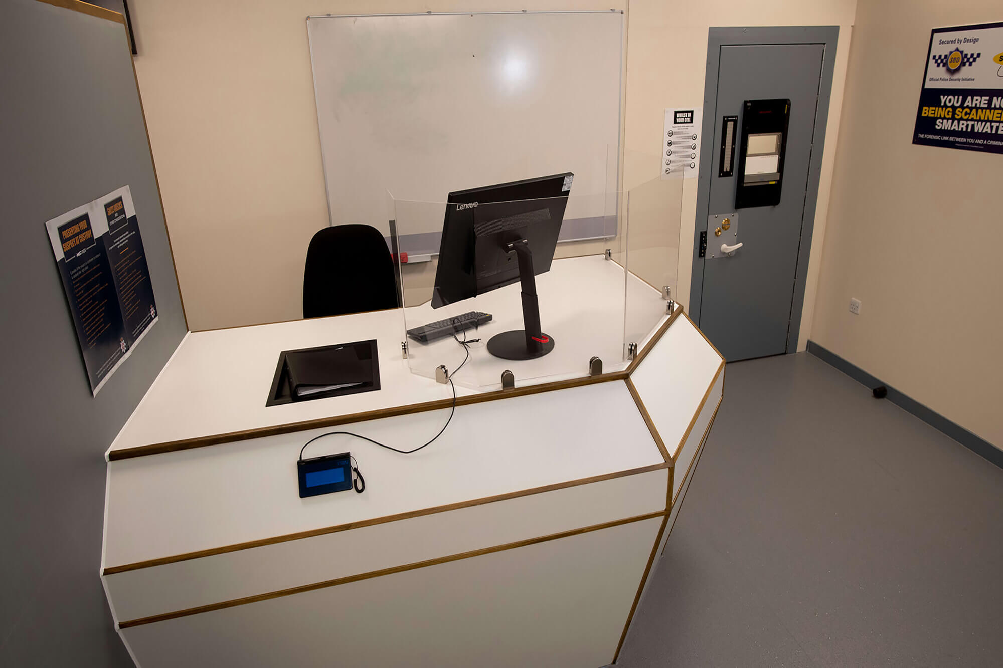 The booking-in desk in our replica custody suite