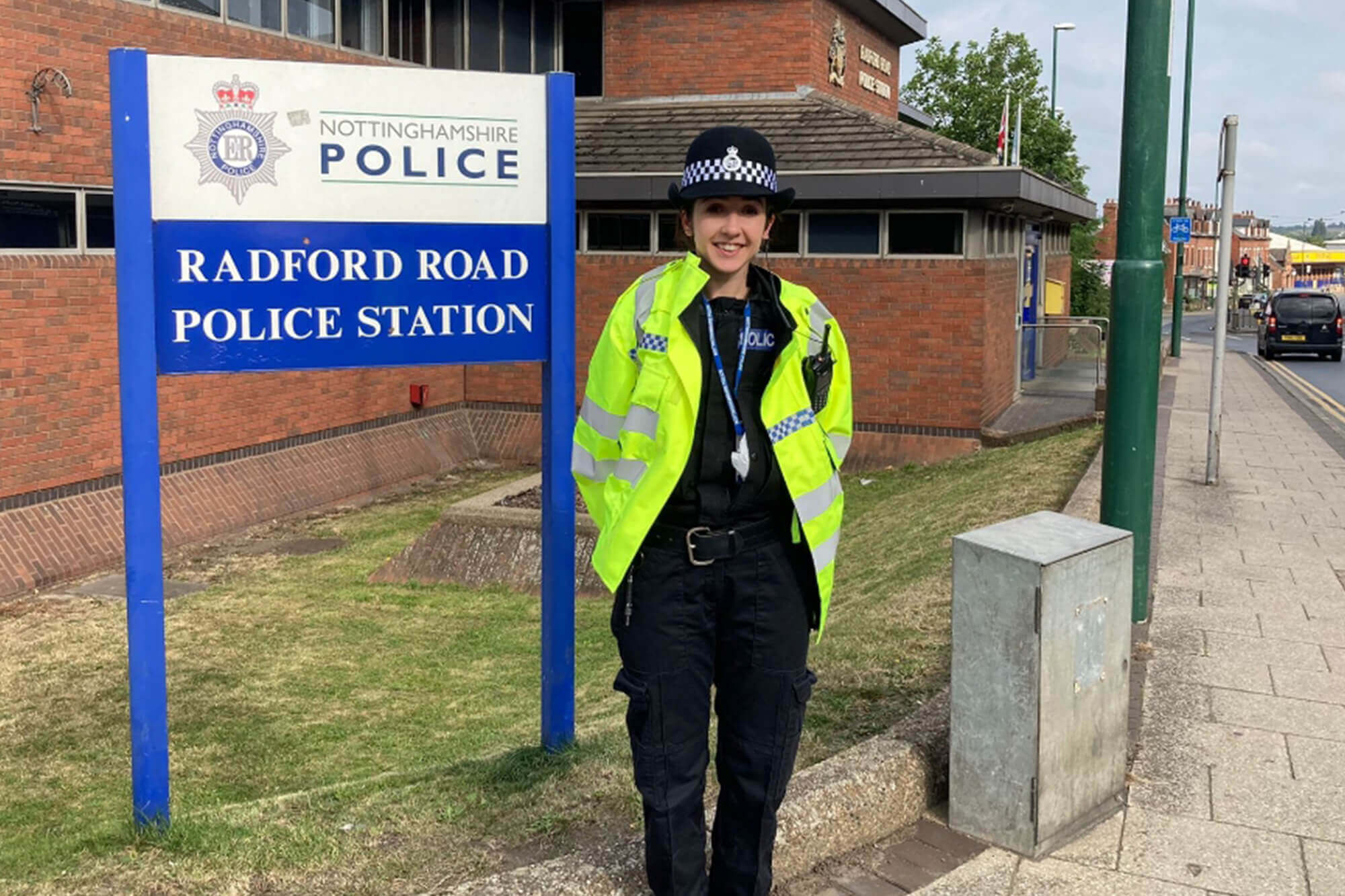 Grace Jolly outside Radford Police Station whilst on Response