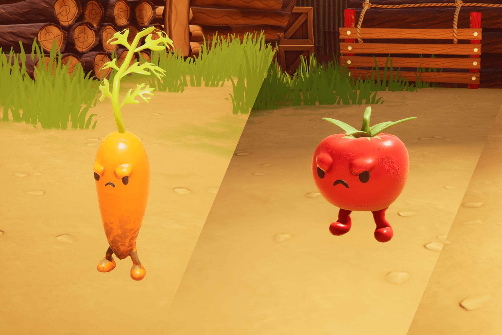 A carrot and a tomato in a computer game