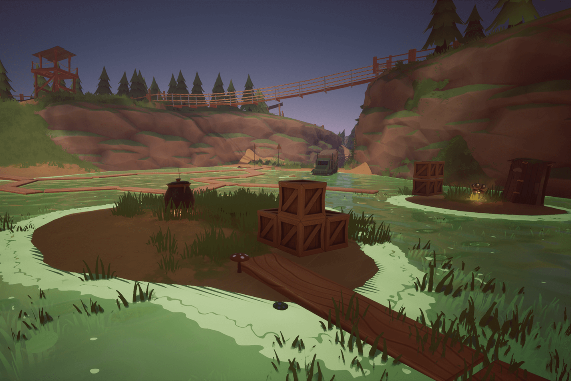 A swamp in a computer game