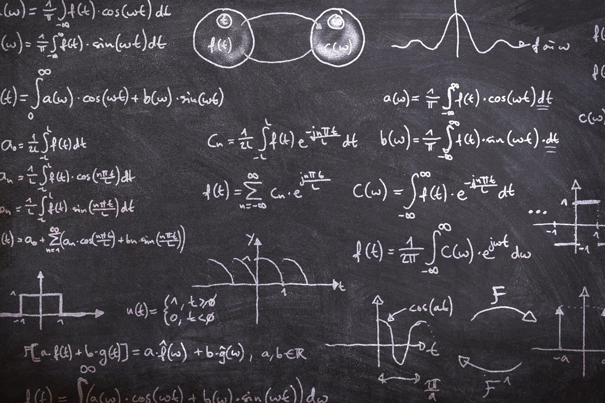 A blackboard with mathematics equations written on it