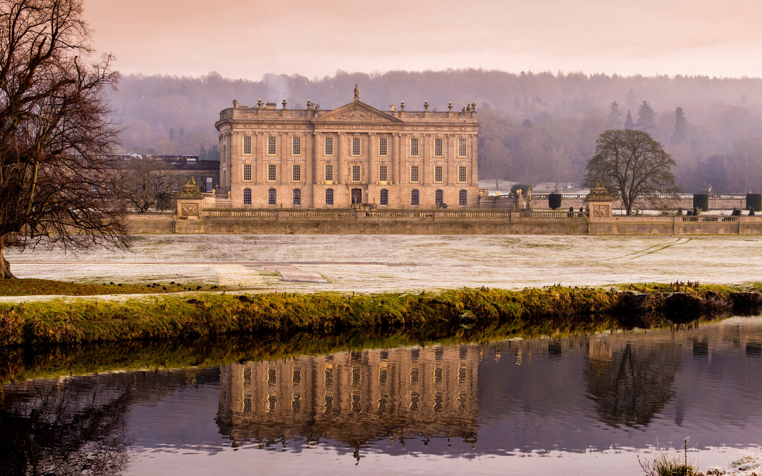 Chatsworth house on frosty morning