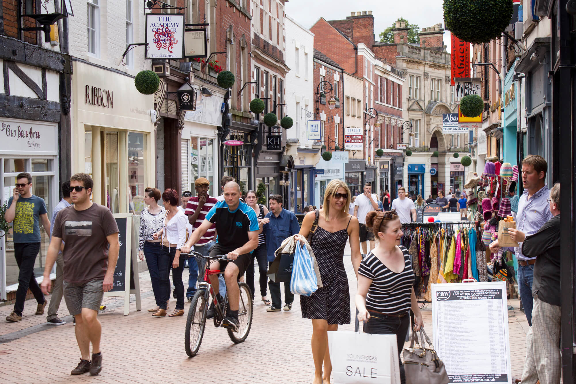 Busy shopping street, Sadler Gate in Derby's Cathedral Quarter