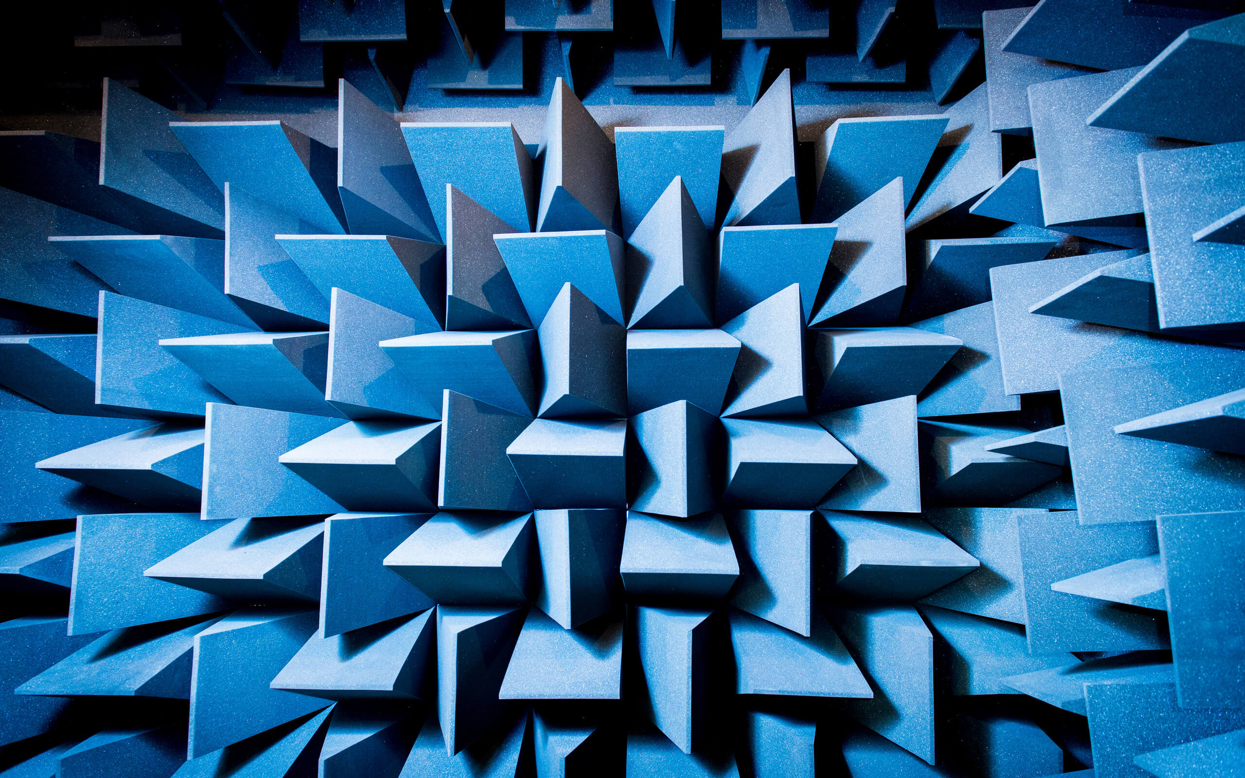 Blue three dimensional blocks spiked outwards.