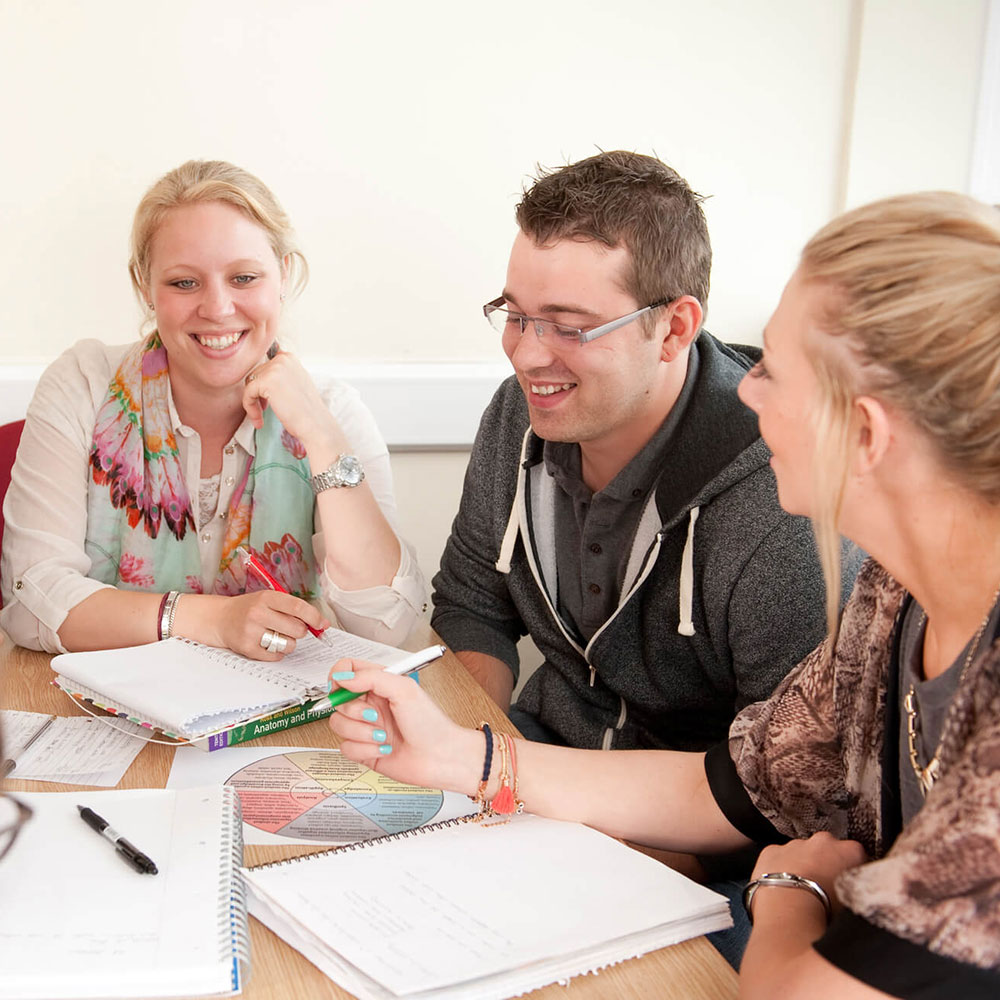 Students from Advanced Diploma in Adult Nursing Studies interact within their class-room