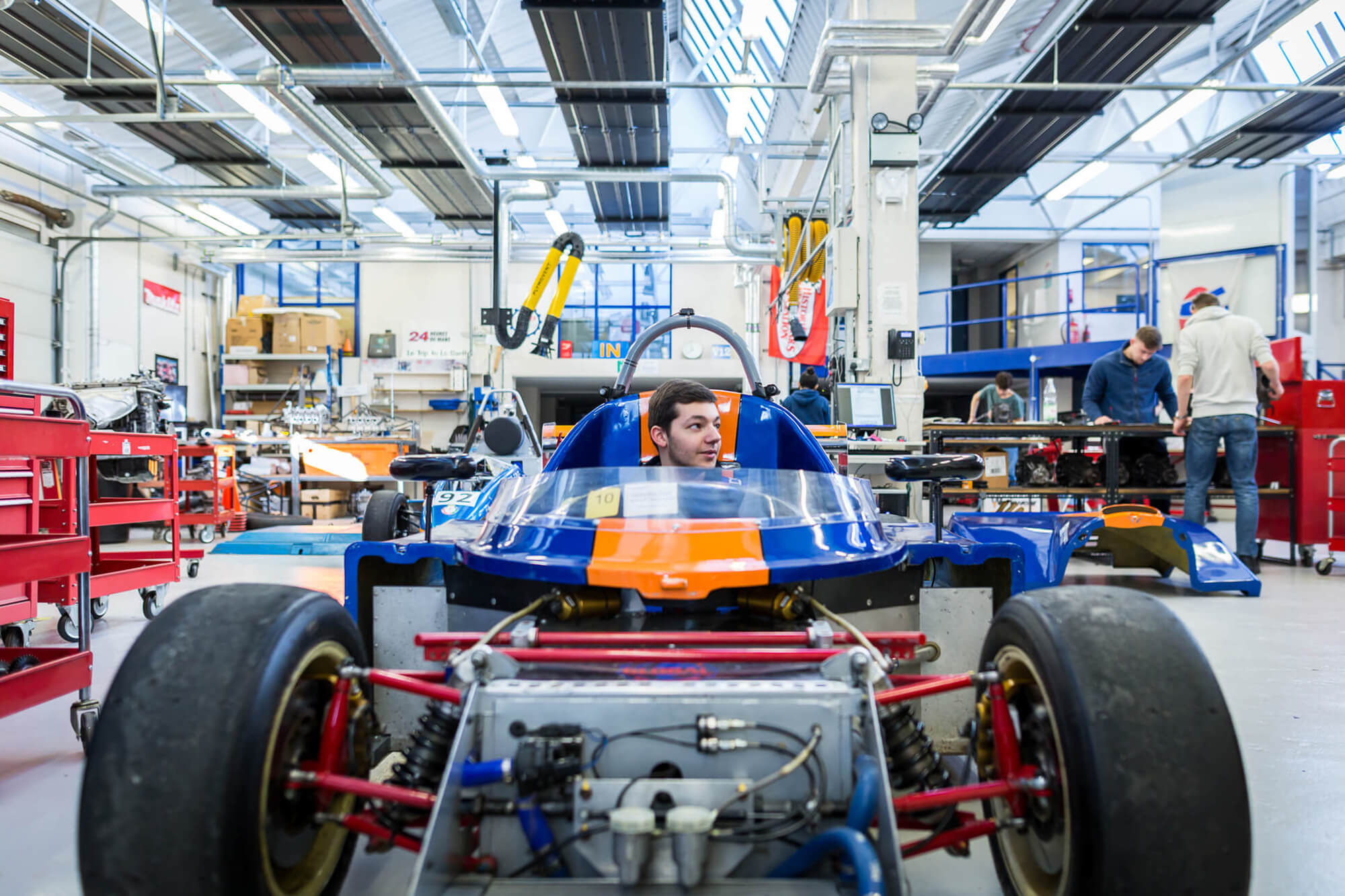 motorsport students in the engineering workshops