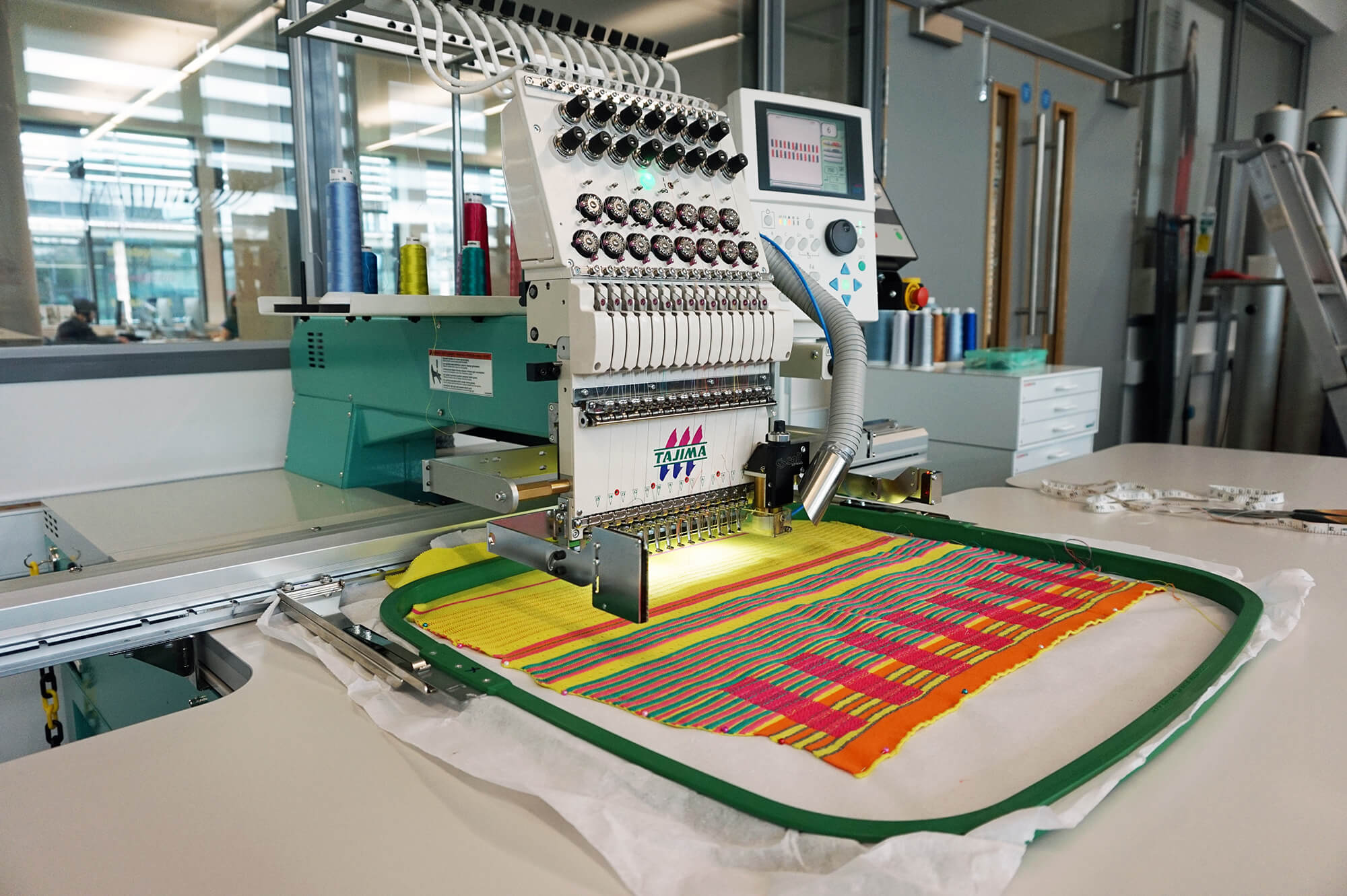 An embroidery machine in the Digital Design Hub