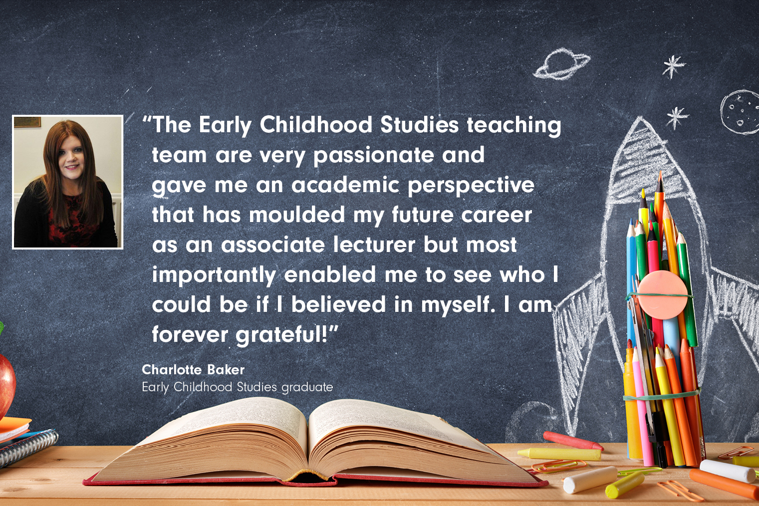 Student testimonial quote from Charlotte Baker