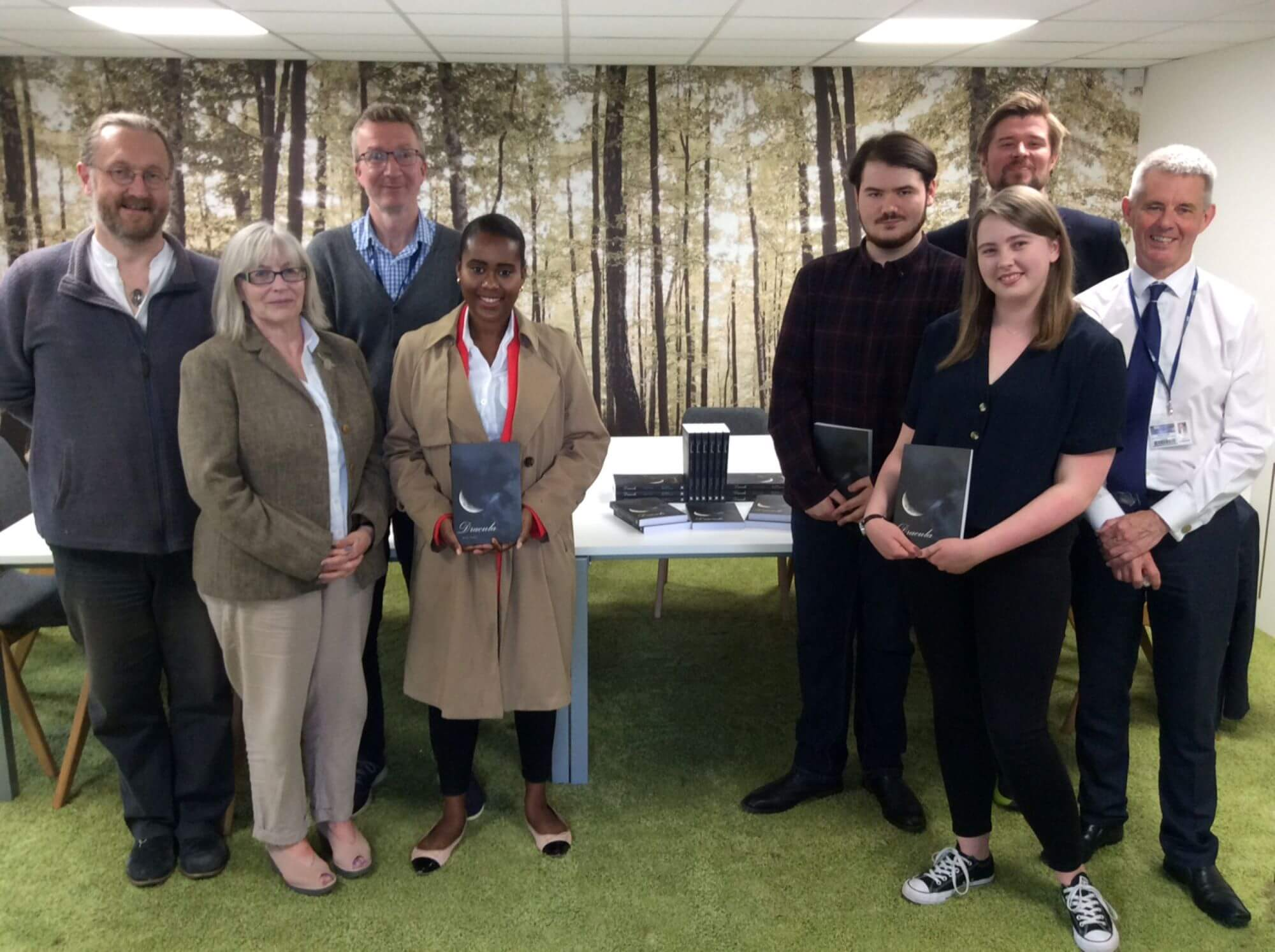 Staff and students at the Dracula book launch