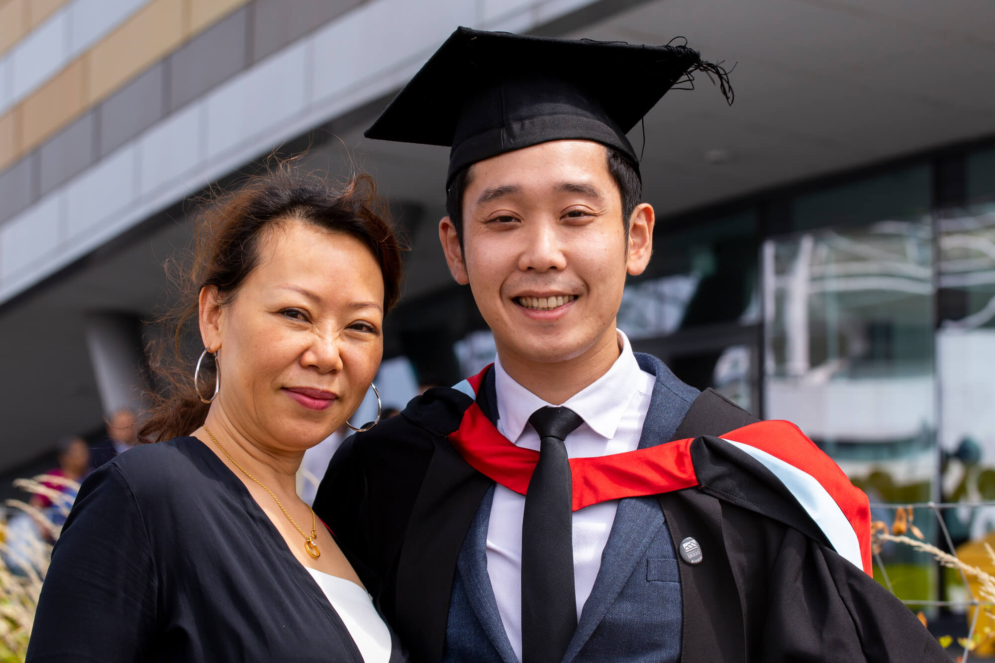 A student and parent at graduation