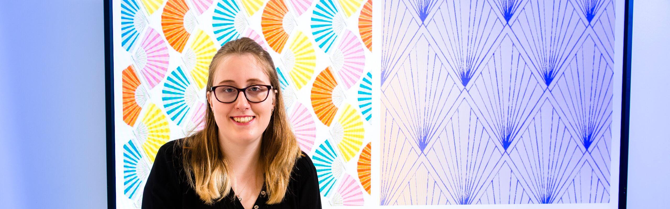 Katie Gilbert Textile Student with Kimono Design
