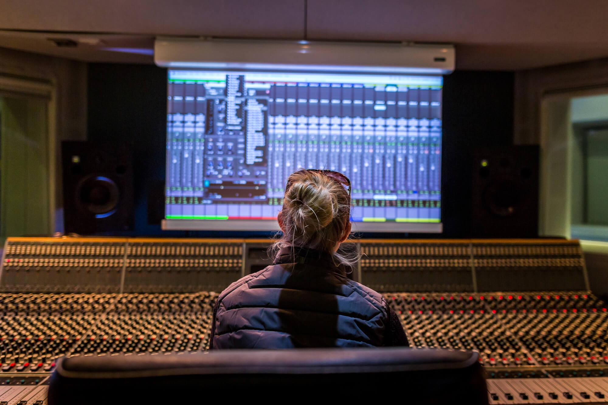 Female student in recording studio