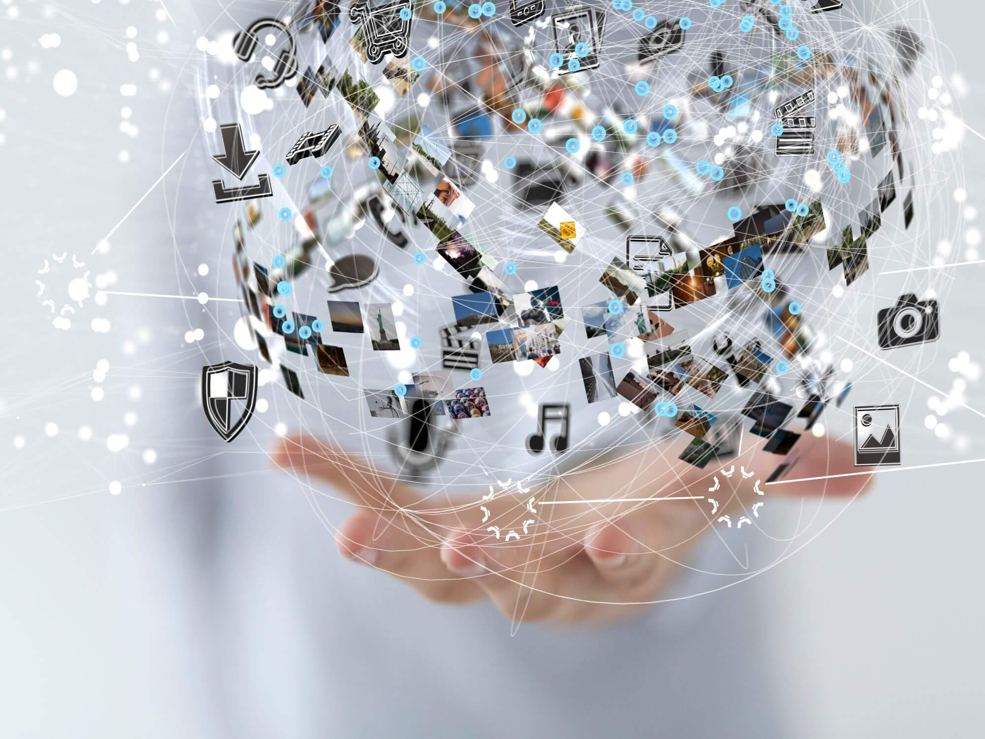 Sphere of technology in a hand