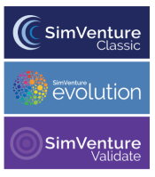 SimVenture Classic. SimVenture evolution. SimVenture Validate. Circle images accompany text.