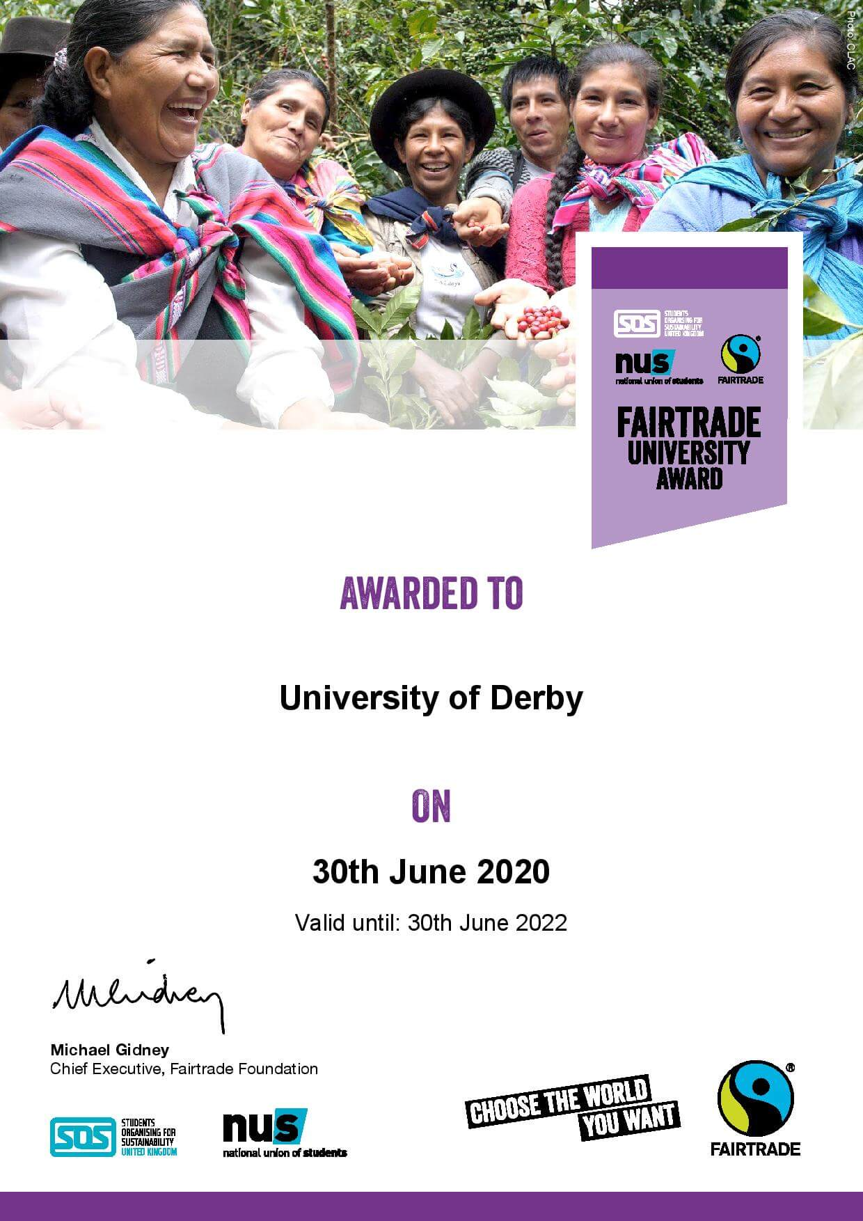 The Fairtrade University award was issued to University of Derby on the 30th June 2020